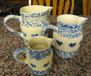 Friendship Pottery Spongeware Pitchers