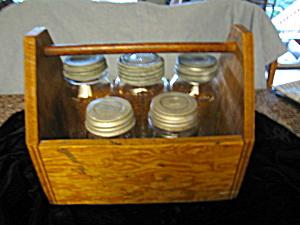 Fruit Jars & Wood Carrier Box Vintage (Image1)