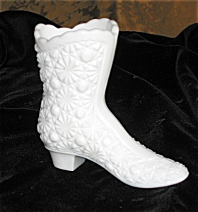 Milk Glass Daisy And Button Boot Vase