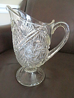 Antique Pressed Pattern Glass Pitcher