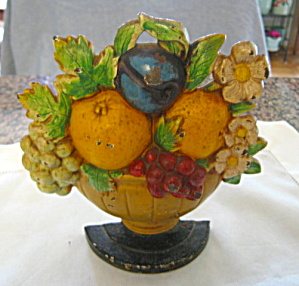 Antique Hubley Fruit Basket Doorstop