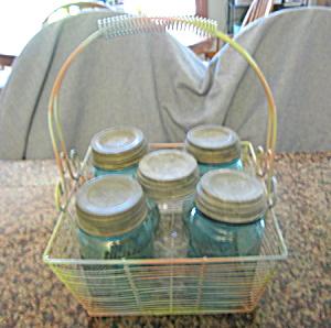 Antique Mason Jars & Wire Basket (Image1)