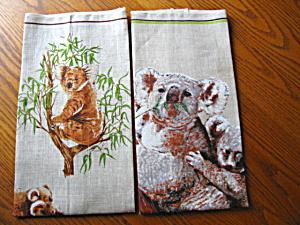Koala Bear Linen Kitchen Towels (Image1)