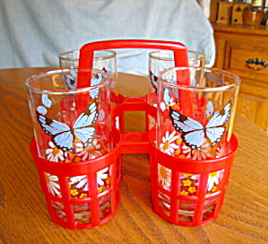 Libbey Butterfly Glasses & Carrier