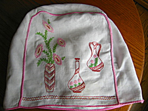 Vintage Embroidered Linen Toaster Cover