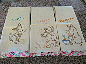 Embroidered Vintage Linen Towel Trio