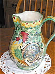 Italian Rooster Vintage Pitcher Large