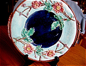 Majolica Rose And Rope Platter