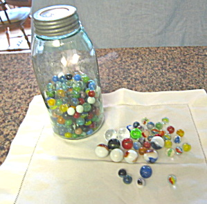 Antique Mason Jar & Marbles