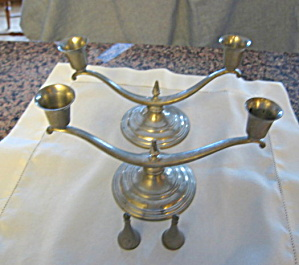Antique Mayflower Pewter Candleholders