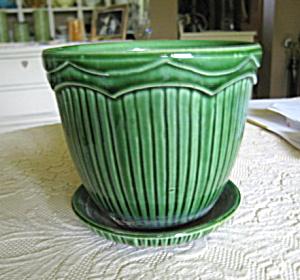 Vintage McCoy Pottery Pot & Saucer (Image1)