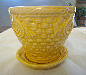 Vintage McCoy Yellow Pot and Saucer (Image1)