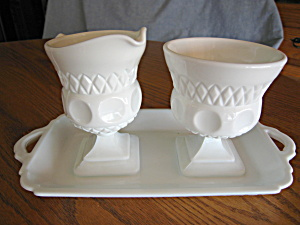 Milk Glass Creamer, Sugar, Tray (Image1)