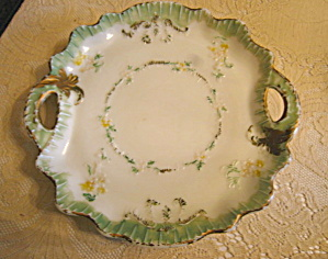 Decorated Milk Glass Tray Antique