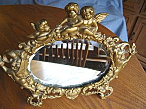 Art Nouveau Repousse Beveled Mirror (Image1)
