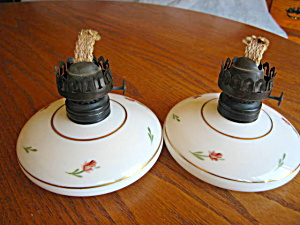 Vintage Plume & Atwood Milk Glass Oil Lamps