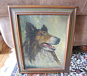 Collie Dog Oil Painting