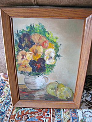 Vintage Oil Painting - Pansies