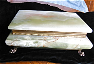 Vintage Onyx Footed Jewelry Box