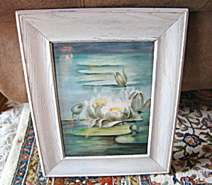 Antique Art Glass Framed Painting