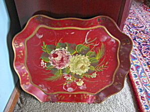 Vintage Red Painted Tray