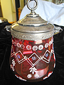 Antique Cranberry Glass Biscuit (Image1)