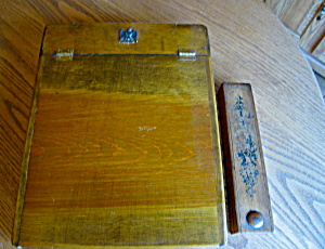 Vintage Wooden Pencil Case And Desk