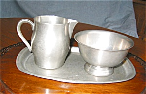 International Pewter Creamer, Sugar And Tray