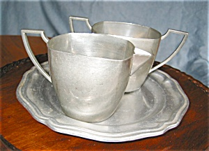 Vintage White Pewter Creamer And Sugar