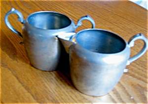Vintage Pewter Creamer And Sugar