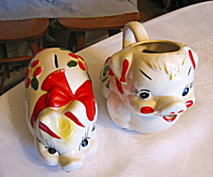 American Bisque Pig Bank And Pitcher