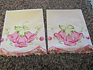 Crocheted Applique Pillowcases Vintage