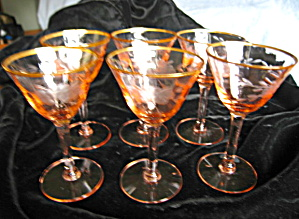 Vintage Etched Pink Glass Stemware