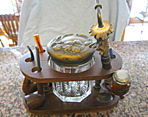 Vintage Pipe Stand And Cigar Jar