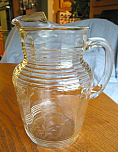 Depression Glass Etched Pitcher