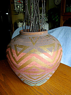Vintage Hand Thrown Polychrome Vase