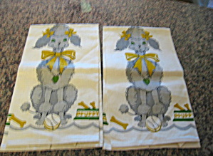 Vintage Poodle Linen Kitchen Towels (Image1)