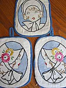 Vintage Embroidered Ladies Potholders