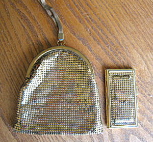 Whiting & Davis Gold Mesh Purse & Mirror