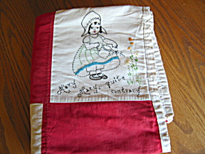 Nursery Rhyme Embroidered Quilt Vintage