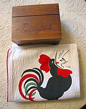 Recipe Box & Rooster Towels Vintage