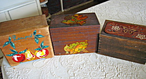 Wood Recipe Boxes Vintage