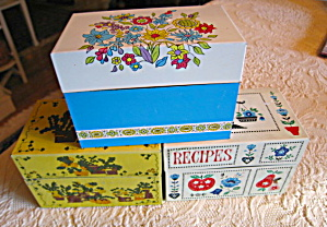 Recipe Boxes Vintage Trio