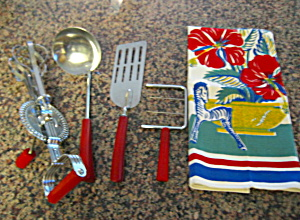 Red Bakelite Kitchen Utensils
