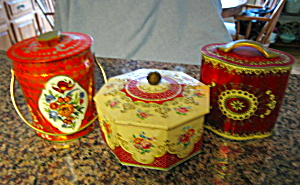 Vintage Red Confectionary Tins