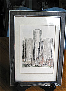 Signed Detroit Ren-cen Watercolor