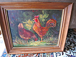 Signed Oil on Board - Roosters (Image1)