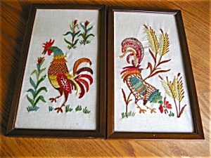 Vintage Crewel Embroidered Rooster Pictures (Image1)