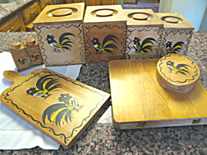 Vintage Rooster Kitchen Woodenware