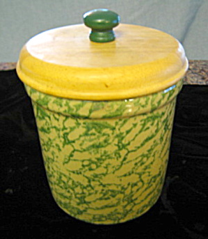 Ransbottom Green Spongeware Crock